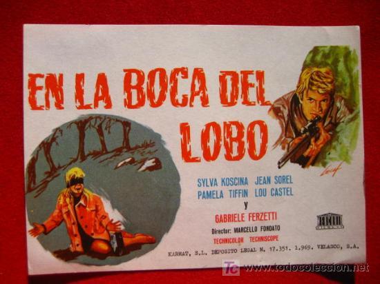 PROGRAMA DE CINE, EN LA BOCA DEL LOBO, SYLVA KOSCINA. JEAN SOREL. PAMELA TIFFIN. LOU CASTEL X (Cine - Folletos de Mano - Acción)