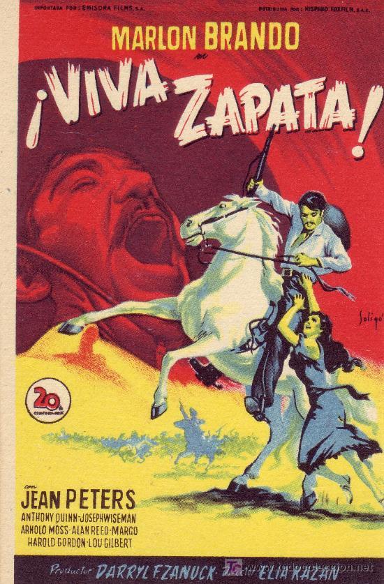 ¡ VIVA ZAPATA! CON MARLON BRANDO DE LA 20TH CENTURY FOX (Cine - Folletos de Mano - Suspense)