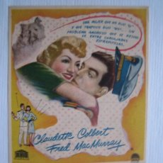 Cine: BODAS BLANCAS - FOLLETA MANO ORIGINAL - CLAUDETTE COLBERT FRED MAC MURRAY MERCURIO FILMS. Lote 3859869