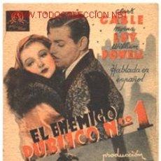 Cine: CLARK GABLE - EL ENEMIGO PUBLICO Nº 1 - MYRNA LOY - ESCRITO DORSO SALÓ IMPERIAL - CINEMA CERVANTES. Lote 8662586