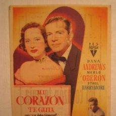 Cine: MI CORAZON TE GUIA - DANA ANDREWS MERLE OBERON ETHEL BARRYMORE JOHN CROMWELL RKO FILMS FOLLETO MANO. Lote 3976797