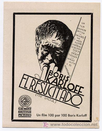 EL RESUCITADO PROGRAMA DOBLE ATLANTIC BORIS KARLOFF TERROR (Cine - Folletos de Mano - Terror)