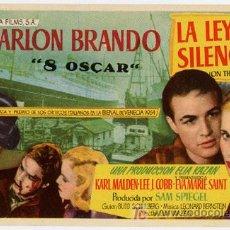 Cine: LA LEY DEL SILENCIO PROGRAMA SENCILLO APAISADO COLUMBIA MARLON BRANDO CON SELLO OSCARS A. Lote 168429580