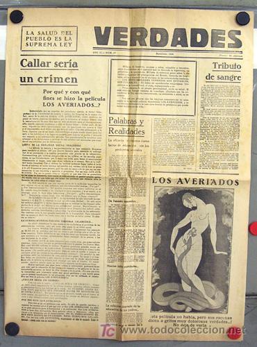 LOS AVERIADOS PROGRAMA GRANDE FORMATO PERIODICO DOCUMENTAL 1933 (Cine - Folletos de Mano - Documentales)