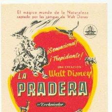 Cine: LA PRADERA WALT DISNEY PROGRAMA SENCILLO CIFESA WALT DISNEY. Lote 4073272