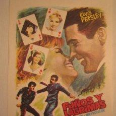 Cine: FOLLETO DE MANO PUÑOS Y LAGRIMAS - ELVIS PRESLEY JOAN O'BRIEN NAIPES CARTAS - CIRE FILMS. Lote 139876656