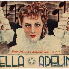 Cine: BELLA ADELINA PROGRAMA DOBLE WARNER IRENE DUNNE. Lote 5151938