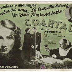Cine: COARTADA / VERDI 2 PROGRAMAS EN 1 ERIC VON STROHEIM GABY MORLAY. Lote 4545866