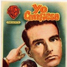 Cine: YO CONFIESO PROGRAMA SENCILLO WARNER VERDE ALFRED HITCHCOCK MONTGOMERY CLIFT ANNE BAXTER. Lote 165633758