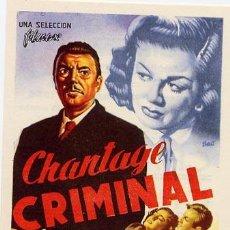 Cine: CHANTAJE CRIMINAL PROGRAMA SENCILLO FILMAX GEORGE BRENT TERENCE FISHER HAMMER. Lote 29802183