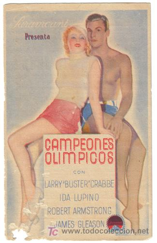 CAMPEONES OLIMPICOS PROGRAMA TARJETA PARAMOUNT IDA LUPINO BUSTER CRABBE (Cine - Folletos de Mano - Deportes)