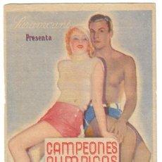 Cine: CAMPEONES OLIMPICOS PROGRAMA TARJETA PARAMOUNT IDA LUPINO BUSTER CRABBE. Lote 4856806