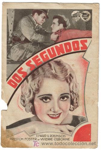 DOS SEGUNDOS PROGRAMA TARJETA WARNER EDWARD G. ROBINSON PRESTON FOSTER (Cine - Folletos de Mano - Acción)
