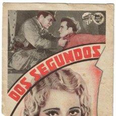 Cine: DOS SEGUNDOS PROGRAMA TARJETA WARNER EDWARD G. ROBINSON PRESTON FOSTER. Lote 4856809