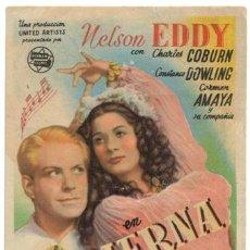 Cine: PIERNA DE PLATA PROGRAMA SENCILLO HERNAN NELSON EDDY CARMEN AMAYA RARO. Lote 4171004