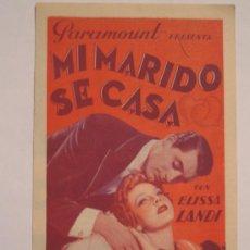 Cine: MI MARIDO SE CASA - CARY GRANT ELISSA LANDI - FOLLETO DE MANO ORIGINAL DOBLE. Lote 4176836