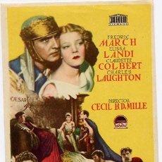 Cinema: EL SIGNO DE LA CRUZ PROGRAMA SENCILLO MERCURIO CLAUDETTE COLBERT DEMILLE. Lote 4220135