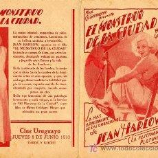 Cine: EL MONSTRUO DE LA CIUDAD PROGRAMA DOBLE URUGUAYO MGM JEAN HARLOW. Lote 4224990
