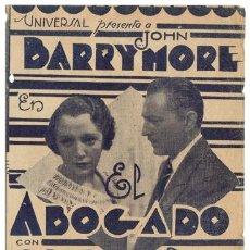 Flyers Publicitaires de films Anciens: EL ABOGADO PROGRAMA DOBLE URUGUAYO UNIVERSAL JOHN BARRYMORE WILLIAM WYLER BEBE DANIELS. Lote 4270503