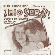 Cine: MIO SERAS PROGRAMA DOBLE URUGUAYO FOX JEANETTE MACDONALD REGINALD DENNY BELA LUGOSI. Lote 4270567