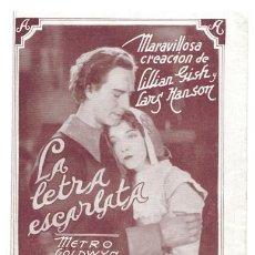Cine: LA MUJER MARCADA PROGRAMA TRIPTICO URUGUAYO MGM LILIAN GISH. Lote 4304645