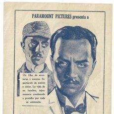 Cine: LA SOMBRA DE LA LEY PROGRAMA SENCILLO URUGUAYO PARAMOUNT WILLIAM POWELL. Lote 4304660
