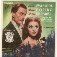 Folhetos de mão de filmes antigos de cinema: LAS ZAPATILLAS ROJAS PROGRAMA SENCILLO EUROPA MICHAEL POWELL ANTON WALBROOK MOIRA SHEARER. Lote 4273357
