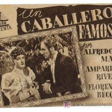 Cine: UN CABALLERO FAMOSO PROGRAMA DOBLE CIFESA MARRON CINE ESPAÑOL AMPARO RIVELLES ALFREDO MAYO A. Lote 12741060