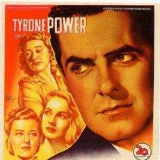 Cine: EL CALLEJON DE LAS ALMAS PERDIDAS PROGRAMA SENCILLO 20TH CENTURY FOX SOLIGO TYRONE POWER. Lote 29801411