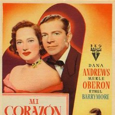Cine: MI CORAZON TE GUIA PROGRAMA SENCILLO RKO MERLE OBERON DANA ANDREWS. Lote 12458498