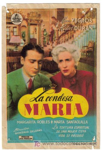 LA CONDESA MARIA PROGRAMA SENCILLO CIFESA CINE ESPAÑOL LINA YEGROS RAFAEL DURAN RARO (Cine - Folletos de Mano - Clásico Español)