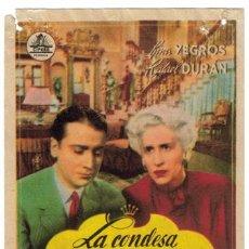 Cine: LA CONDESA MARIA PROGRAMA SENCILLO CIFESA CINE ESPAÑOL LINA YEGROS RAFAEL DURAN RARO. Lote 17909685
