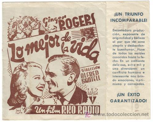 LO MEJOR DE LA VIDA PROGRAMA DOBLE RKO GINGER ROGERS (Cine - Folletos de Mano - Comedia)