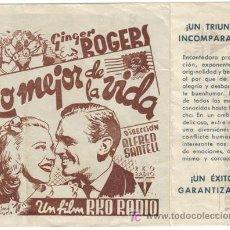Cine: LO MEJOR DE LA VIDA PROGRAMA DOBLE RKO GINGER ROGERS. Lote 5084456