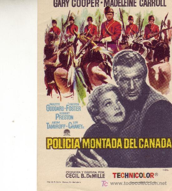 POLICIA MONTADA DEL CANADA- FOLLETO DE MANO EN EXCELENTE ESTADO (Cine - Folletos de Mano)