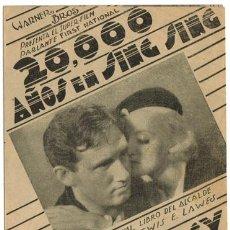 Cine: 20000 AÑOS EN SING SING PROGRAMA DOBLE URUGUAYO WARNER BETTE DAVIS SPENCER TRACY. Lote 4448505