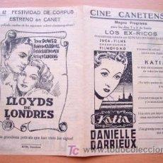 Cine: PROGRAMA DOBLE LOCAL DE CANET AÑOS 40 - CINE CANETENSE - PELÍCULAS KATIA Y LLOYDS DE LONDRES. Lote 25868245