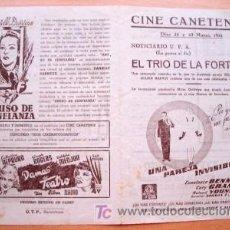 Cine: PROGRAMA DOBLE LOCAL DE CANET AÑOS 40 - CINE CANETENSE - PELÍCULA UNA PAREJA INVISIBLE CON CARY GRAN. Lote 25868236