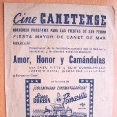 Cine: PROGRAMA DOBLE LOCAL DE CANET AÑOS 30 - 40 - CINE CANETENSE - PELÍCULA PRINCESITA CON DIANA DURBIN. Lote 27264227
