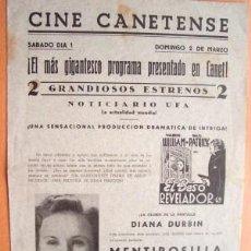 Cine: PROGRAMA DOBLE LOCAL DE CANET AÑOS 30 - 40 - CINE CANETENSE - PELÍCULA EL BESO REVELADOR. Lote 5464387