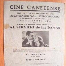 Cine: PROGRAMA DOBLE LOCAL DE CANET AÑOS 30 - 40 - CINE CANETENSE - PELÍCULA AL SERVICIO DE LAS DAMAS. Lote 8130050