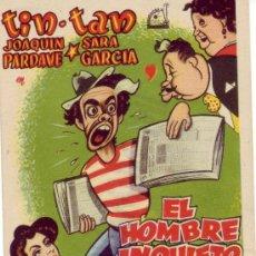 Cine: EL HOMBRE INQUIETO -CON MARTHA VALDES Y ACTUACION ESPECIAL TRIO LOS PANCHOS.PROGRAMA DEL AÑO 1959. Lote 24798402