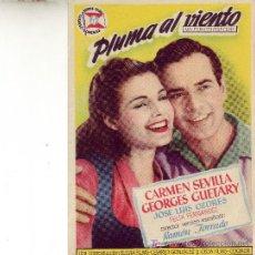 Cine: PROGRAMA DE MANO PLUMA AL VIENTO CON CARMEN SEVILLA -UN FILM DE LOUIS CUNY. Lote 24954236