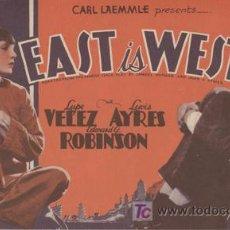 Cine: ORIENTE Y OCCIDENTE PROGRAMA DOBLE AMERICANO UNIVERSAL LUPE VELEZ EDWARD G. ROBINSON LEW AYRES. Lote 4501253