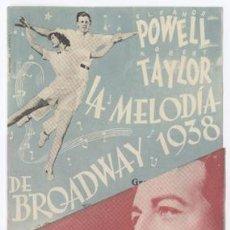 Cine: LA MELODIA DE BROADWAY 1938 PROGRAMA DOBLE MGM ROBERT TAYLOR ELEANOR POWELL JUDY GARLAND. Lote 10803188
