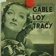 Cine: D PILOTO DE PRUEBAS PROGRAMA TRIPTICO GRANDE ITALIANO MGM CLARK GABLE MYRNA LOY SPENCER TRACY. Lote 4593843