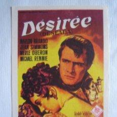Cine: FOLLETO DE MANO - DESIREE - SOLIGO - FOX MARLON BRANDO JEAN SIMMONS MERLE OBERON NAPOLEON. Lote 11639472