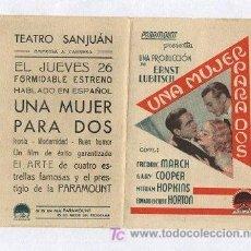 Cine: PROGRAMA DE MANO UNA MUJER PARA DOS 1933. Lote 26641795