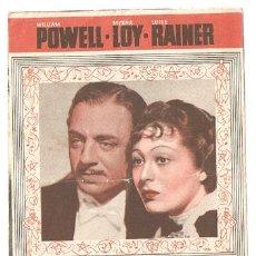 Cinema - EL GRAN ZIEGFELD PROGRAMA DOBLE MGM WILLIAM POWELL MYRNA LOY LOUISE RAINER - 4796868