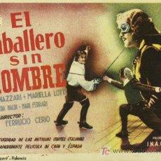 Cine: EL CABALLERO SIN NOMBRE PROGRAMA SENCILLO CIFESA AMEDEO NAZZARI RARO. Lote 4833658